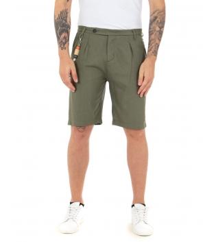 Bermuda Uomo Pantaloncino Corto Bottone Allungato Tinta Unita Verde GIOSAL-Verde-S