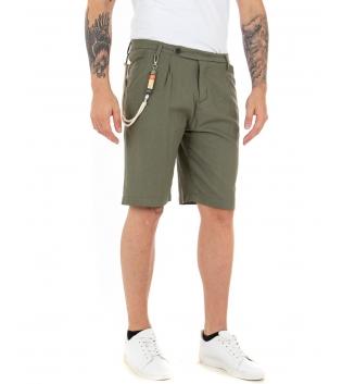 Bermuda Uomo Pantaloncino Corto Bottone Allungato Tinta Unita Verde GIOSAL