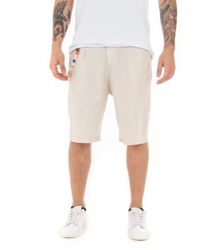 Bermuda Uomo Pantaloncino Corto Bottone Allungato Tinta Unita Beige GIOSAL-Beige-S