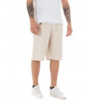 Bermuda Uomo Pantaloncino Corto Bottone Allungato Tinta Unita Beige GIOSAL