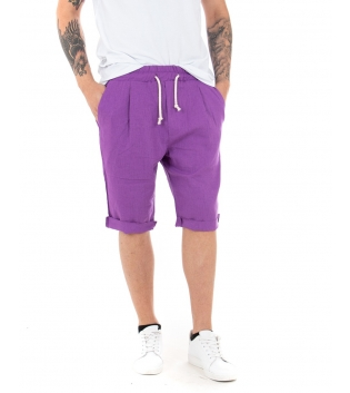 Bermuda Uomo Pantalone Corto Lino Paul Barrell Elastico Viola Sartoriale GIOSAL