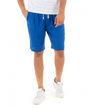 Bermuda Uomo Pantalone Corto Lino Paul Barrell Elastico Blu Royal Sartoriale GIOSAL
