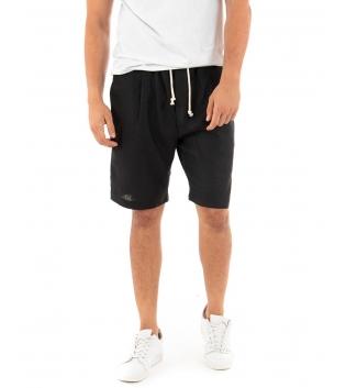 Bermuda Uomo Pantalone Corto Lino Paul Barrell Elastico Nero Sartoriale GIOSAL