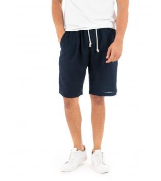 Bermuda Uomo Pantalone Corto Lino Paul Barrell Elastico Blu Sartoriale GIOSAL