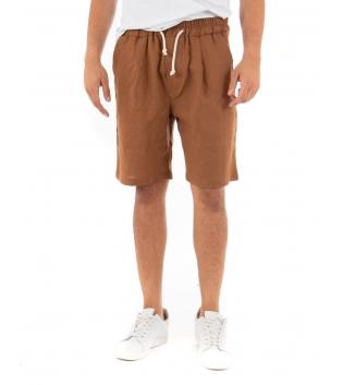 Bermuda Uomo Pantalone Corto Lino Paul Barrell Elastico Camel Sartoriale GIOSAL