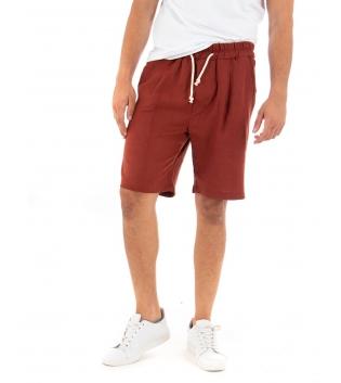 Bermuda Uomo Pantalone Corto Lino Paul Barrell Elastico Mattone Sartoriale GIOSAL