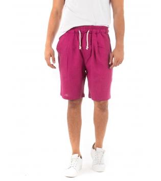 Bermuda Uomo Pantalone Corto Lino Paul Barrell Elastico Fucsia Sartoriale GIOSAL