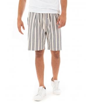 Bermuda Uomo Pantalone Corto Lino Paul Barrell Elastico Rigato Sartoriale GIOSAL-Beige-S
