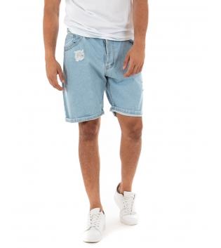 Bermuda Uomo Pantalone Stampa Denim Chiaro Casual GIOSAL
