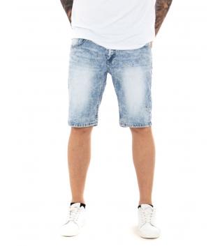 Bermuda Uomo Jeans Corto Denim Chiaro Casual Cinque Tasche GIOSAL