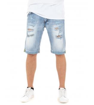 Bermuda Uomo Jeans Corto Denim Rotture Chiaro Casual Cinque Tasche GIOSAL