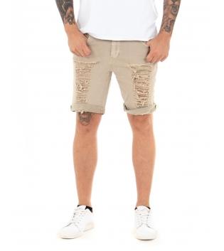 Pantalone Uomo Bermuda Corto Rotture Cinque Tasche Casual GIOSAL-Beige-42