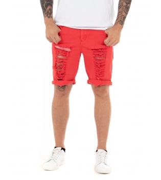 Pantalone Uomo Bermuda Corto Rotture Cinque Tasche Casual GIOSAL
