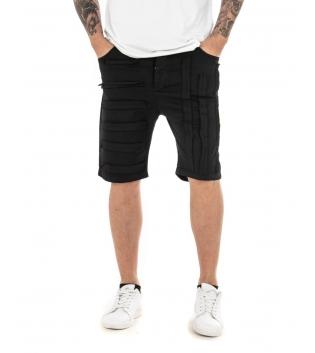 Pantalone Uomo Corto Bermuda Tinta Unita Cinque Tasche GIOSAL