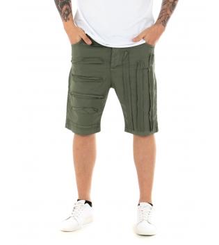 Pantalone Uomo Corto Bermuda Tinta Unita Cinque Tasche GIOSAL-Verde-46