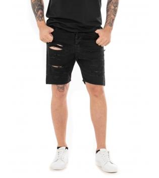 Pantalone Uomo Corto Bermuda Rotture Tinta Unita Nero Cotone Casual GIOSAL