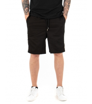 Pantalone Uomo Bermuda Tinta Unita Riga Militare Elastico GIOSAL