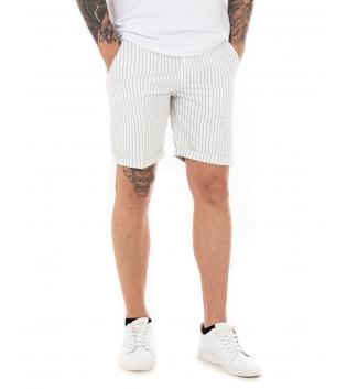 Pantalone Uomo Corto Bermuda Rigato Casual Tasca America GIOSAL