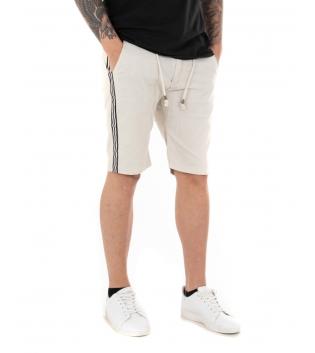 Pantalone Uomo Tinta Unita Vari Colori Bermuda Casual GIOSAL-Beige-42