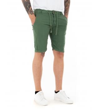 Pantalone Uomo Tinta Unita Vari Colori Bermuda Casual GIOSAL-Verde-42