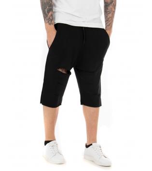 Pantalone Corto Uomo Bermuda Nero Tuta Tagli Akirò Rotture Elastico GIOSAL