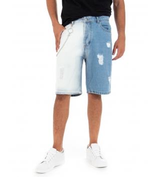 Bermuda Uomo Bicolore Denim Jeans Bianco Catena Cinque Tasche Rotture GIOSAL