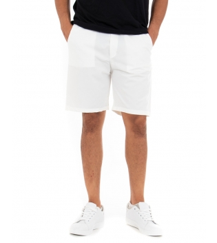 Bermuda Uomo Tinta Unita Bianco Elastico Corto Casual GIOSAL