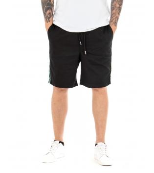 Pantalone Uomo Corto Bermuda Tuta Elastico Nero Righe Laterali Tasca America GIOSAL