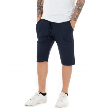 Pantalone Uomo Corto Bermuda Tuta Blu Elastico Tinta Unita Tasca America Casual GIOSAL