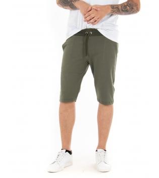 Pantalone Uomo Corto Bermuda Tuta Verde Elastico Tinta Unita Tasca America Casual GIOSAL