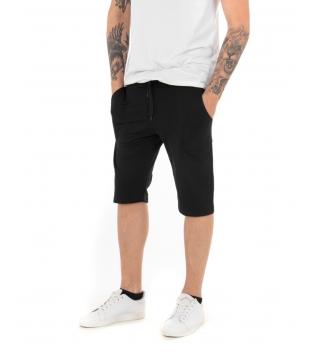 Pantalone Uomo Corto Bermuda Tuta Nero Elastico Tinta Unita Tasca America Casual GIOSAL