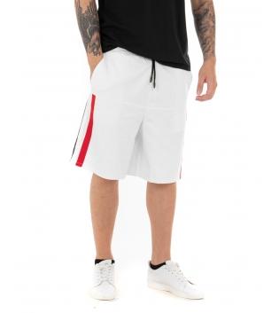 Pantalone Uomo Corto Bermuda Elastico Righe Laterali Bianco GIOSAL