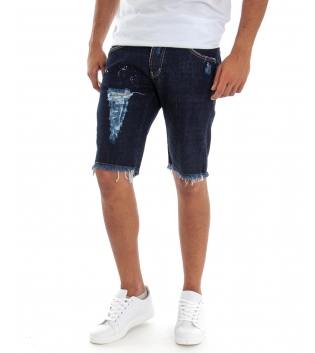 Bermuda Uomo Jeans Denim Rotture Slim Cinque Tasche Casual GIOSAL