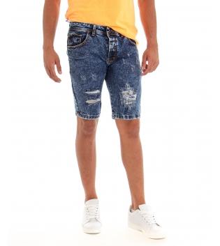Bermuda Uomo Jeans Pantaloncino Denim Rotture Cinque Tasche GIOSAL
