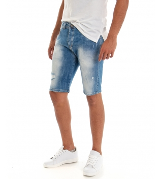 Bermuda Uomo Jeans Pantaloncino Denim Sfumature Rotture Cinque Tasche GIOSAL