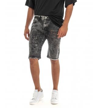 Bermuda Uomo Jeans Pantaloncino Denim Grigio Macchie Pittura Cinque Tasche GIOSAL