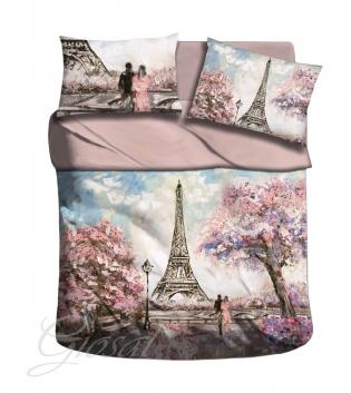 Completo Lenzuola Pink Paris Matrimoniale Copriletto Stampa Digitale 3D Tour Eiffel GIOSAL