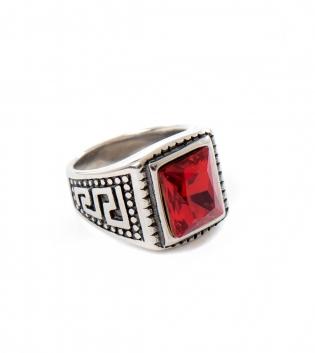 Anello Uomo Pietra Rossa Ring Traforato Rettangolare Accessori Acciaio GIOSAL