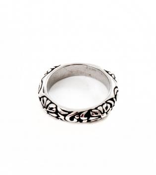 Anello Uomo Fiori Rilievo Ring Semitondo Accessori Acciaio GIOSAL