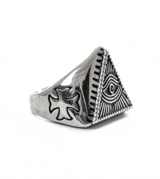 Anello Uomo  Ring Traforato Triangolare Traforato Accessori Acciaio GIOSAL