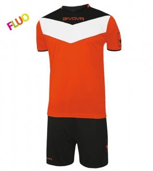 Kit Calcio GIVOVA Campo Fluo Completino Football Sport Sportivo GIOSAL-Nero/ArancioFluo-2XS
