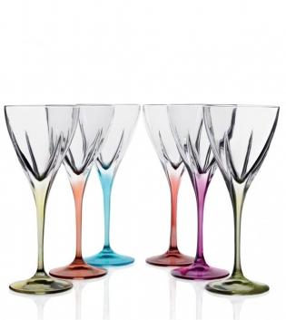Set Bicchieri Calici Fusion Color 6 Pezzi Liquore 7cl Vetro Cristallo RCR GIOSAL