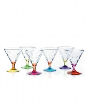 Set di Bicchieri Riflessi Bicolor 30cl 6 Pezzi Calici Gelato Dessert Cristallo RCR GIOSAL