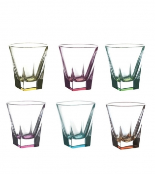 Set Bicchieri Fusion Color 6 Pezzi Liquore 6cl Vetro Cristalleria Italiana RCR GIOSAL