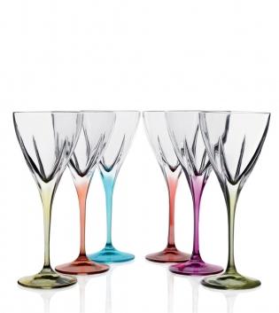 Set Bicchieri Calici Fusion Color 6 Pezzi Acqua 25cl Vetro Cristallo RCR GIOSAL
