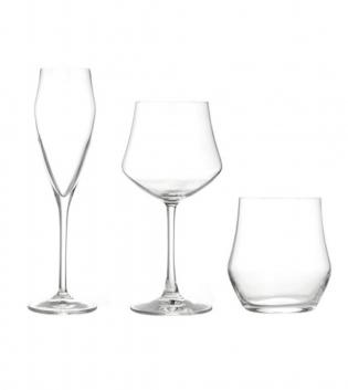 Set 18 Bicchieri Calici Flute Ego Acqua Vino 18cl 43cl 39cl Vetro Cristallo RCR GIOSAL