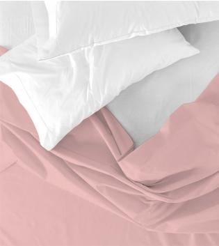Lenzuolo Sopra Maestri Cotonieri Singolo 160x290cm Cotone Tinta Unita Vari Colori GIOSAL-Rosa Antico