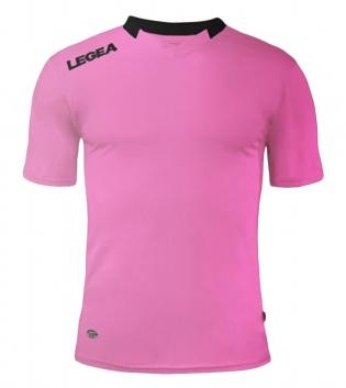 Maglia Sport Calcio LEGEA Monaco Manica Corta Tinta Unita Abbigliamento Sportivo GIOSAL-Rosa-Nero-XS