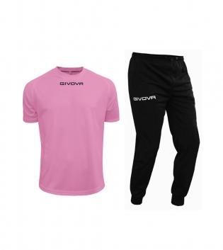 Outfit Givova Uomo Donna Bambino Completo Tuta T-Shirt Pantalone Givova One Rosa Nero GIOSAL