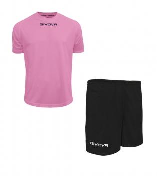 Outfit Givova Completo Pantaloncini T-Shirt Givova One Rosa Nero Unisex Uomo Donna Bambino GIOSAL